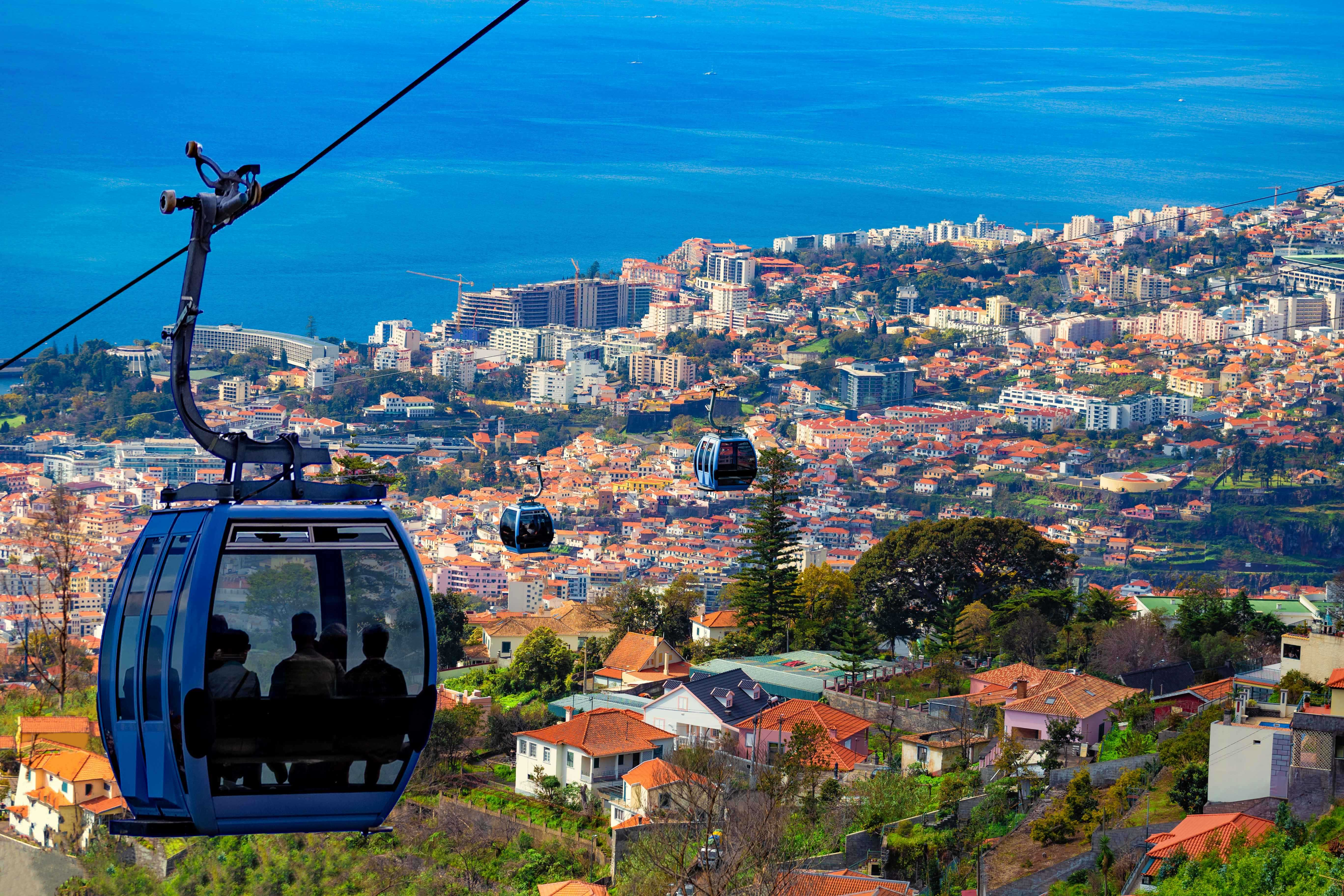Aerial View of Madeira with Cable Car Madeira Portugal