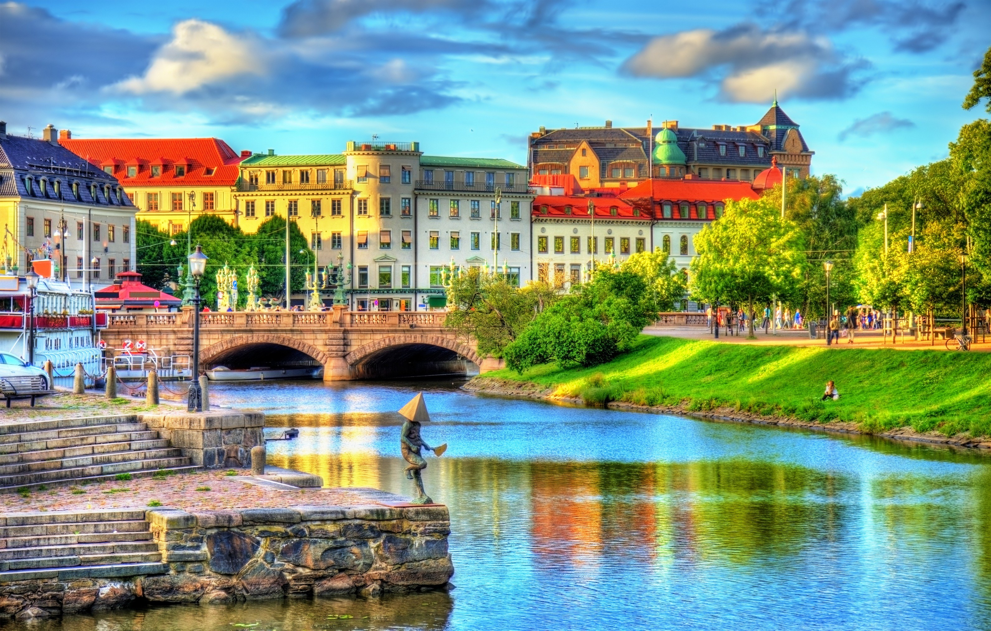 Canal in the historic centre of Gothenburg Sweden