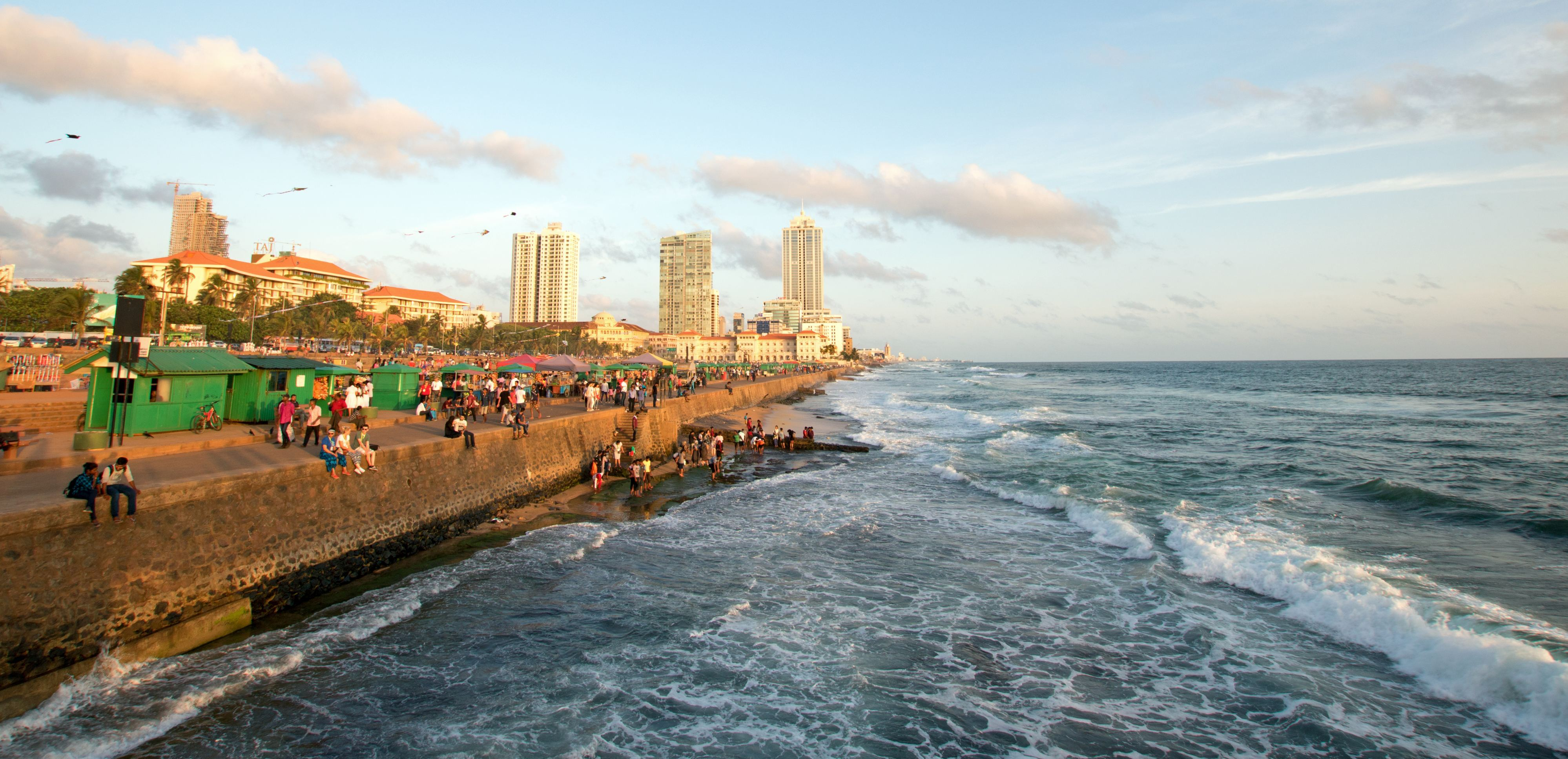 Galle Face beachfront urban park area in Colombo Sri Lanka