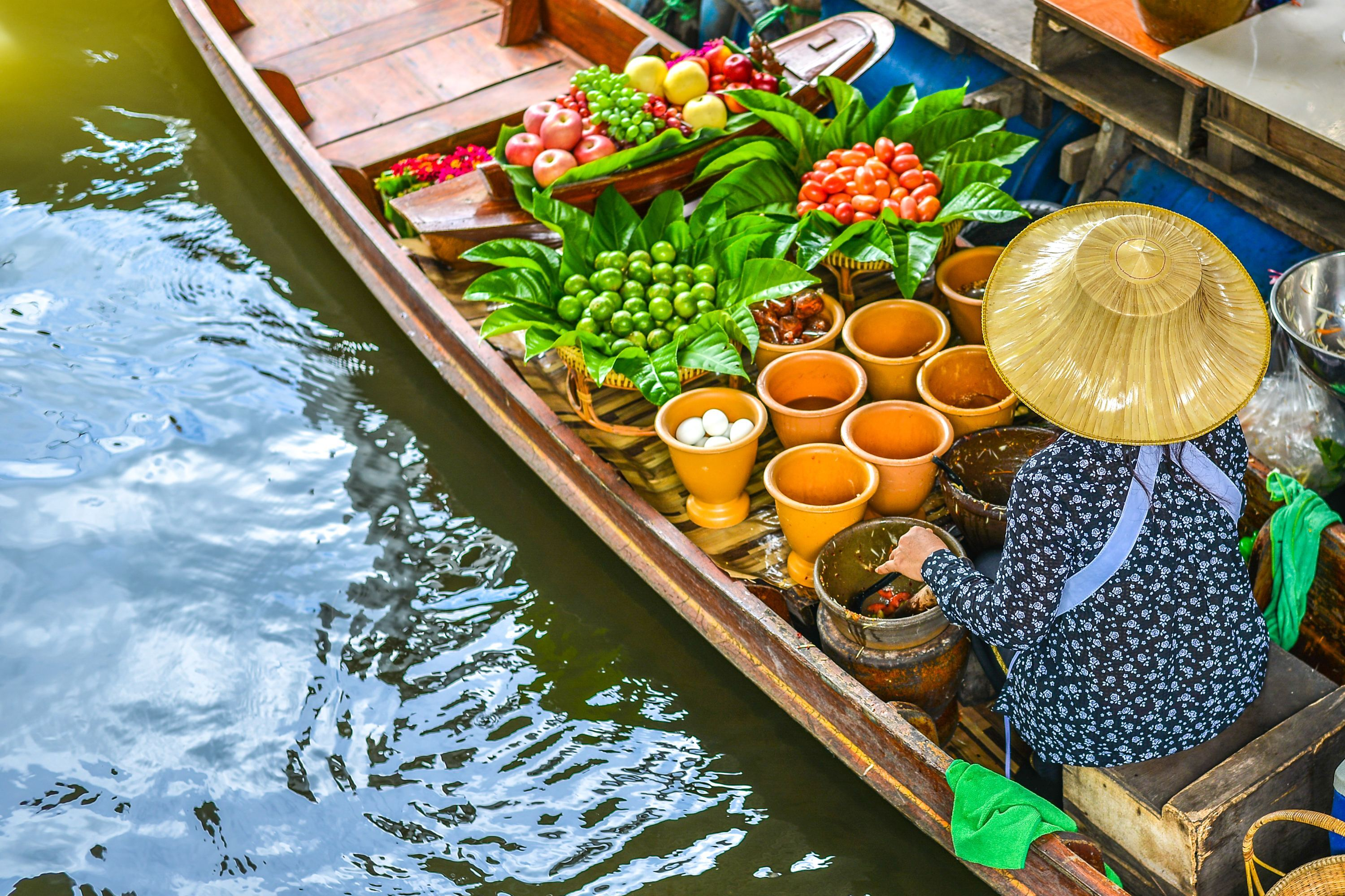 Thai floating Market Bangkok Thailand