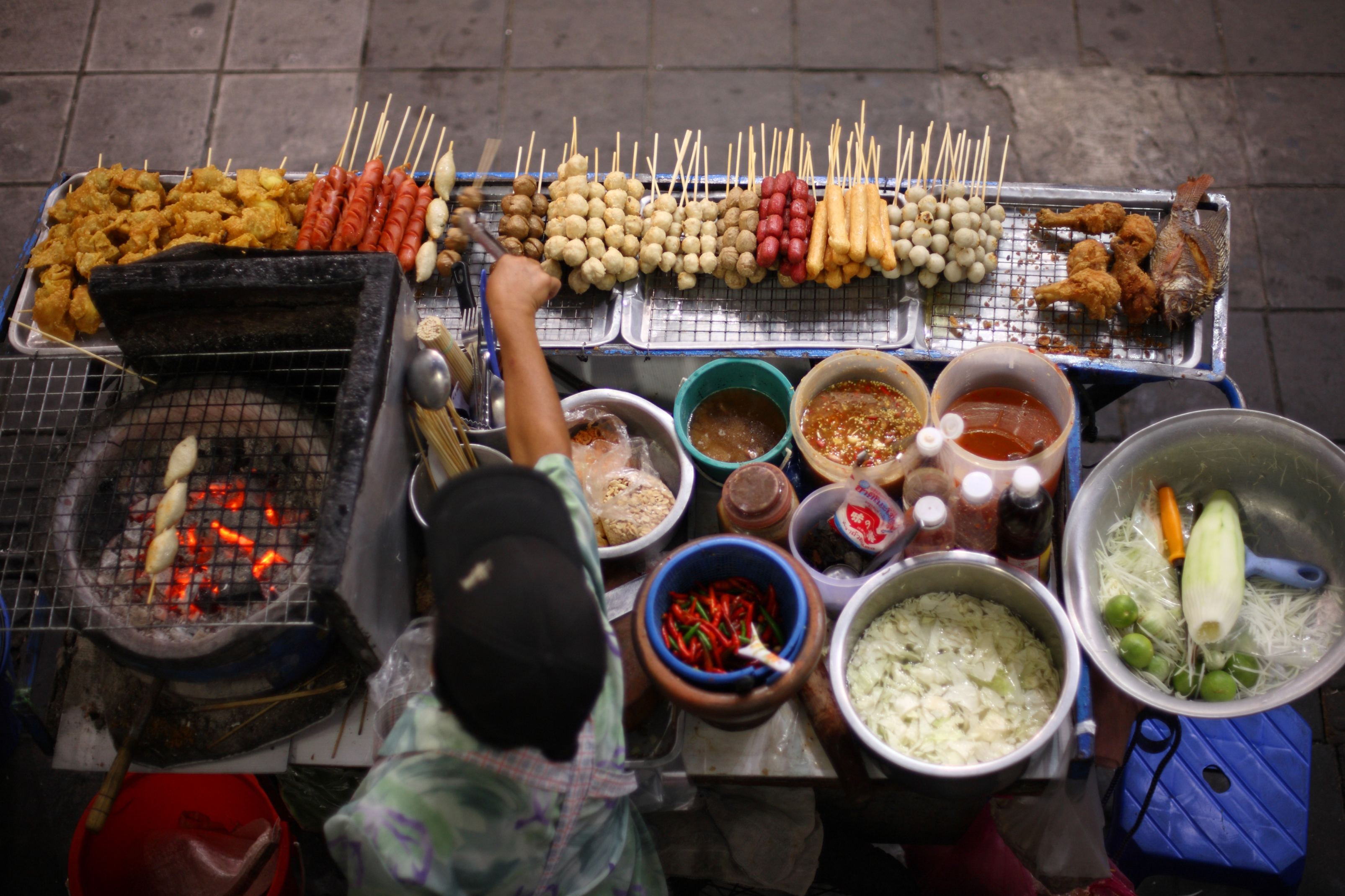 Thai street food vendor in Bangkok Thailand