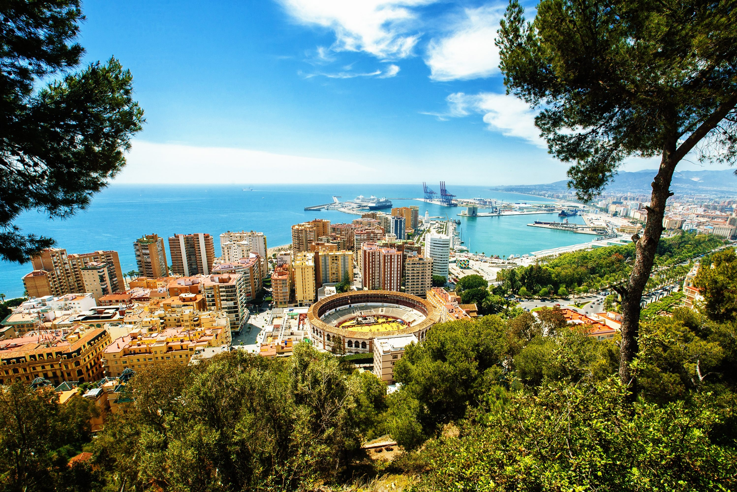 View of the city of Malaga with the bullring and the Port Malaga Spain