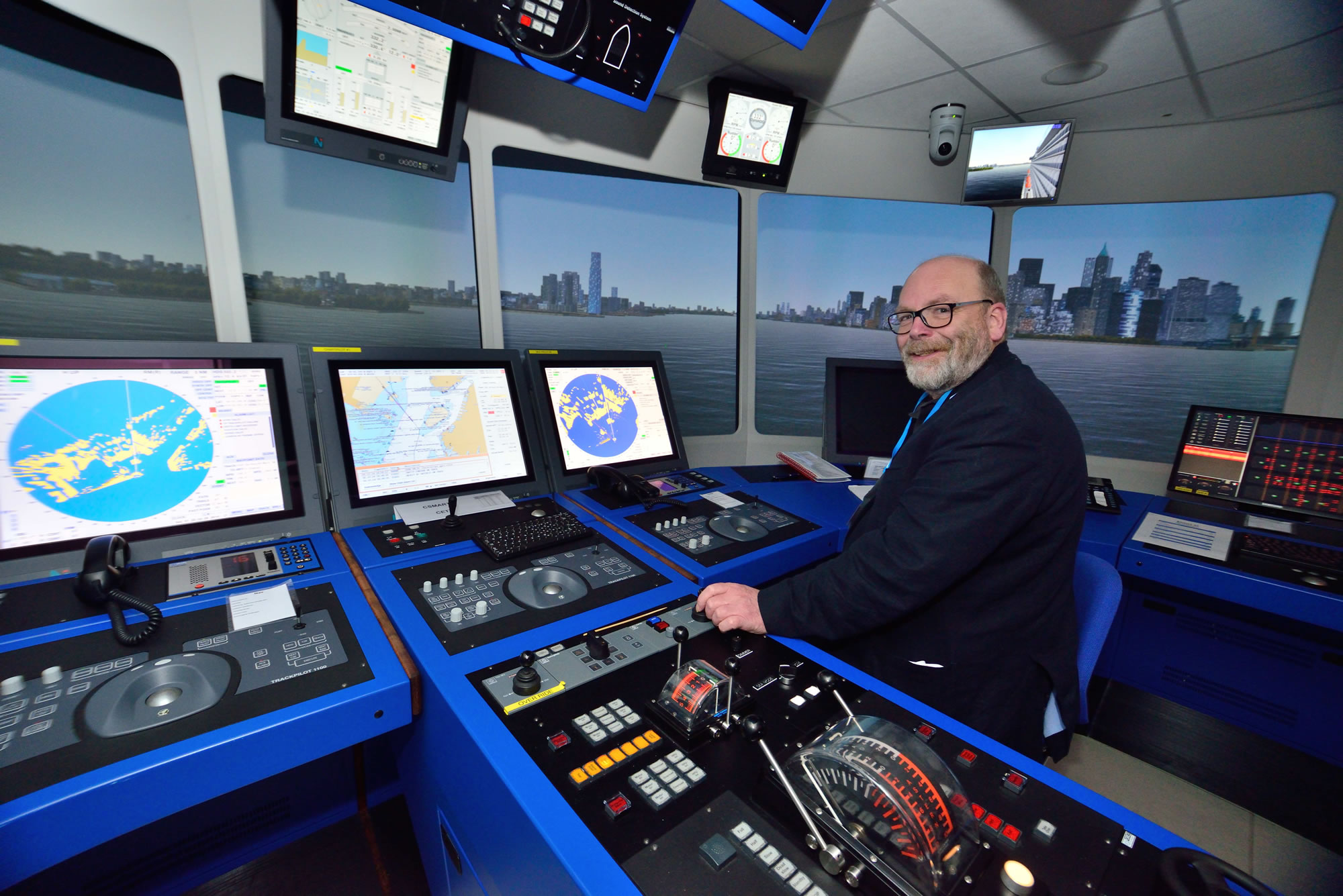 Set the controls for the start of the fun: On the bridge at the entrance to New York Harbour