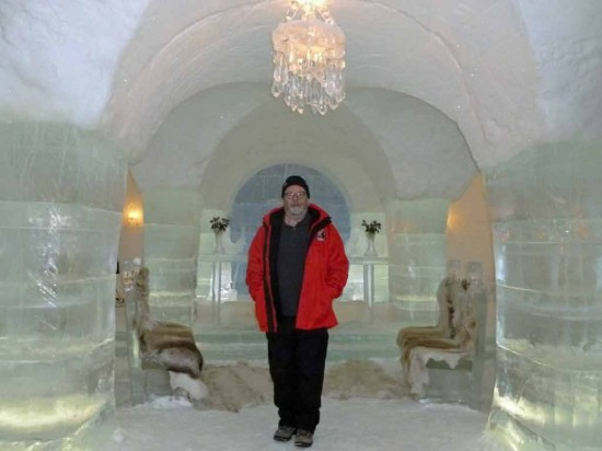 Captain Greybeard poses for pictures in the Igloo Hotel's wedding chapel