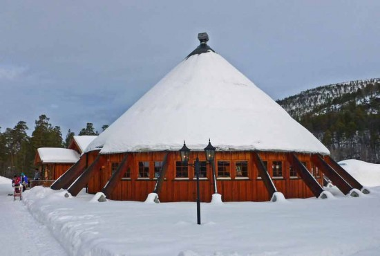 The Igloo Hotel's Laksestua restaurant - its design is based on the traditional Sami Lavvu tent