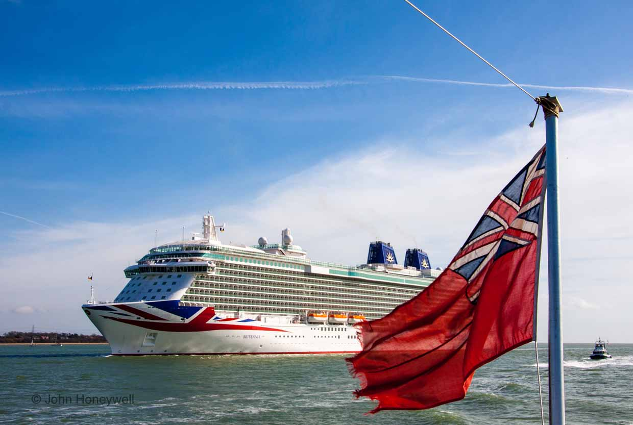 Red Ensign welcome to Southampton for Britain's newest cruise ship