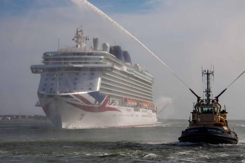 Tug boats escorted Britannia