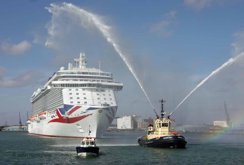 Water cannons greet Britannia