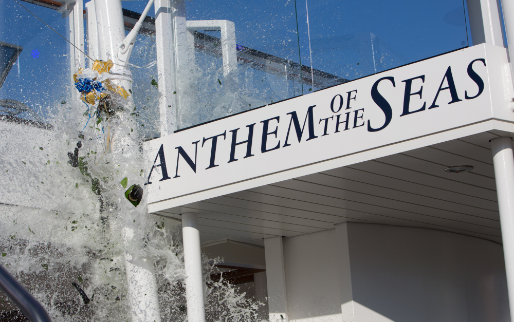 Champagne smashes on Anthem of the Seas