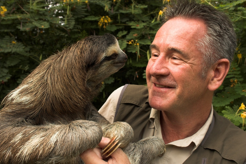 Nigel Marvin with sloth
