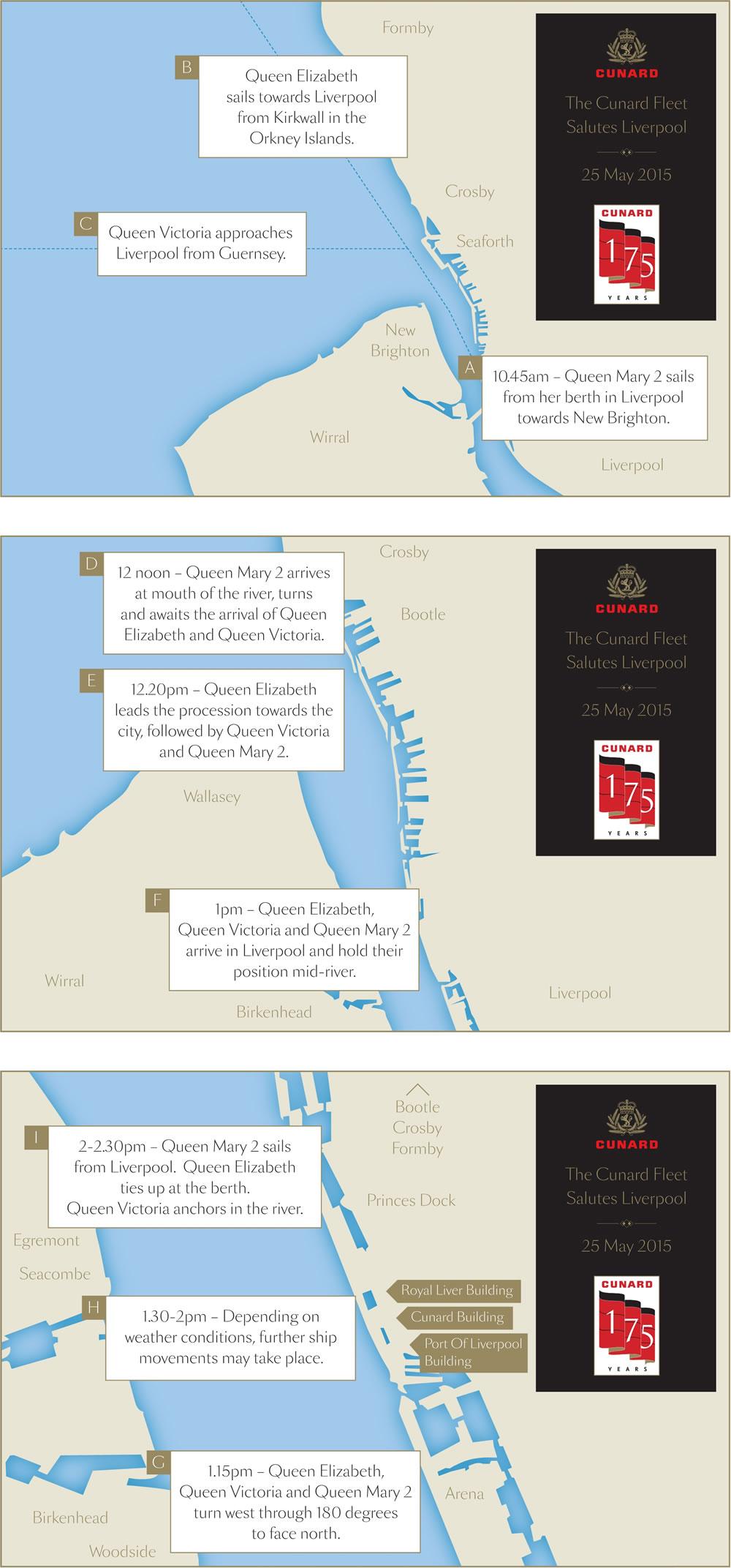 Cunard's Three Queens Liverpool Map
