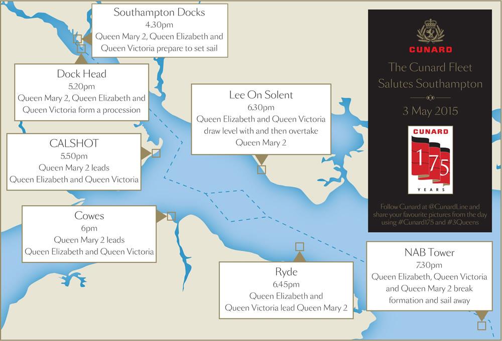 Cunard's Three Queens Southampton Map