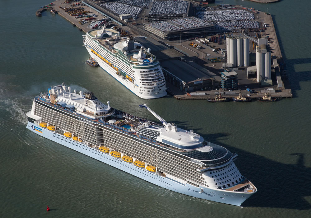 Anthem of the Seas and Explorer of the Seas at Southampton