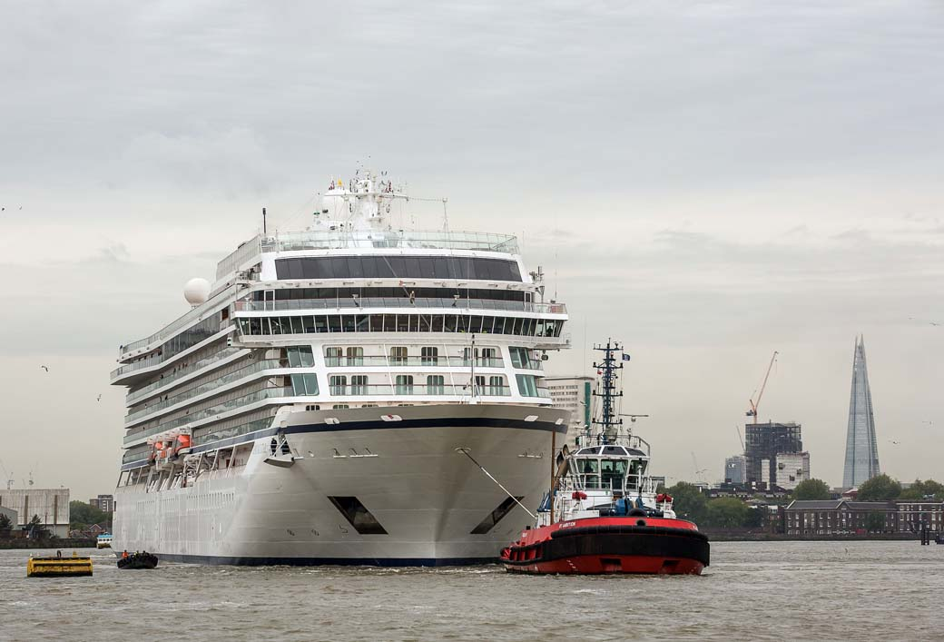 "Jeff Moore 12/05/15 ""Picture free for editorial use relating to Viking Cruises"" London welcomes cruising's newest Star London welcomed Viking Cruises first ocean bound ship, the Viking Star, as it entered the Thames Barrier early this morning. The brand new 930 passenger Viking Star marks the travel industry's first entirely new cruise line in a decade. In a world of ever increasing cruise ships, the 930 passenger Star is one of the biggest cruise ships to navigate the Thames, however this remains small in comparison to other mega ocean cruise liners. For more information on Viking Ocean Cruises please visit http://www.vikingcruises.co.uk/oceans/"