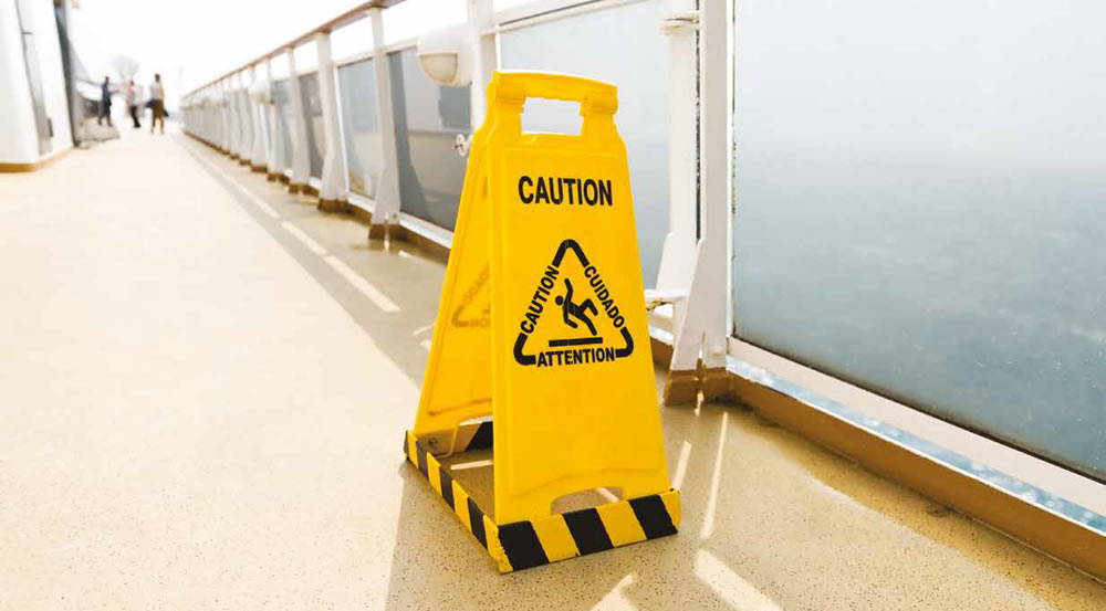 Caution sign on a cruise ship