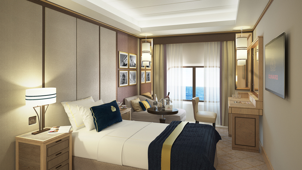 Cunard unveils designs of new single staterooms for queen for Which cruise line has single cabins