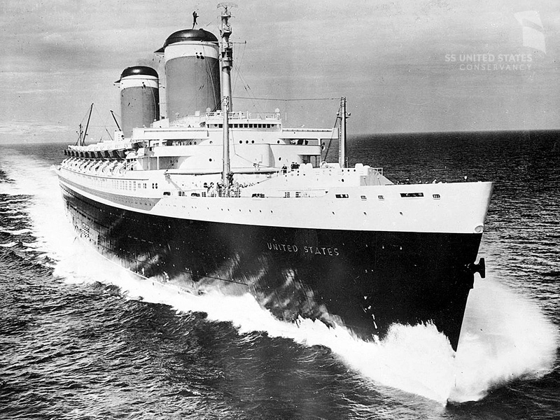 SS United States on her sea trials, June 10, 1952. Here she reached her highest recorded speed ever, 38.32 knots (44.1 mph). This is the greatest speed ever achieved by an ocean liner before or since. Photo courtesy of Charles Anderson and the SS United States Conservancy