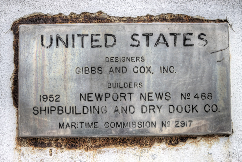 The SS United States' builder's plate
