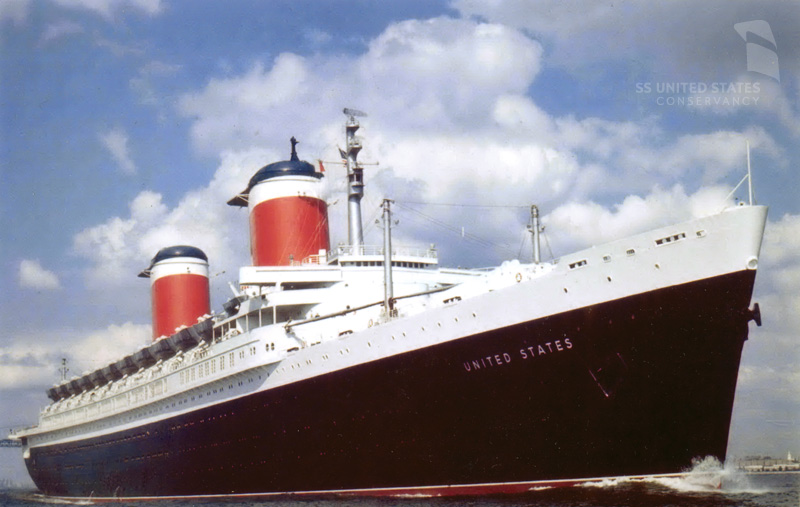 The SS United States at sea during her service career. Photo courtesy of Bill DiBenedetto and the SS United States Conservancy