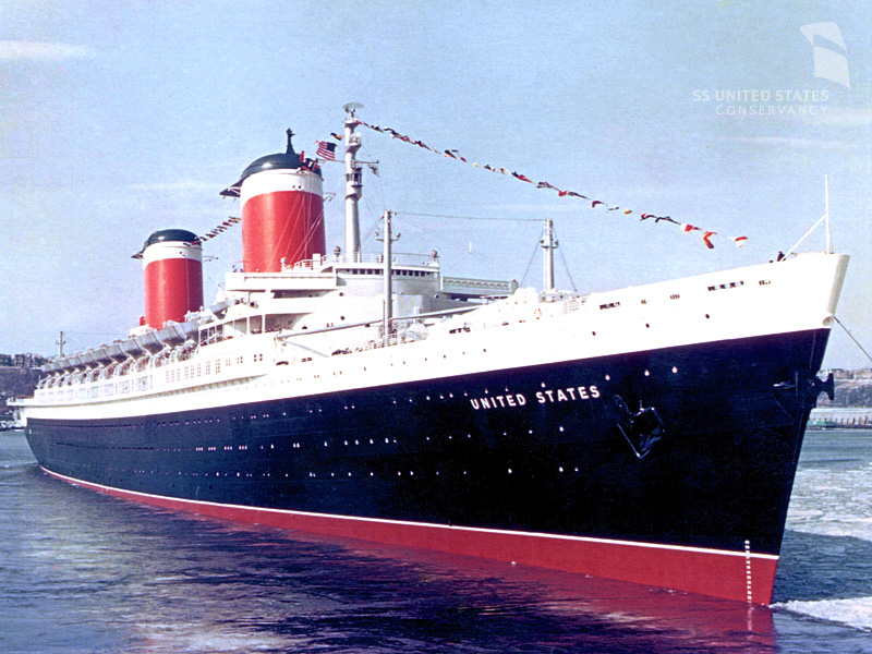 The SS United States easing into New York's Pier 86, sometime during her service career. Photo courtesy of Bill DiBenedetto and the SS United States Conservancy