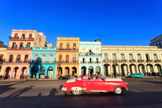 A vintage car in a Cuban street