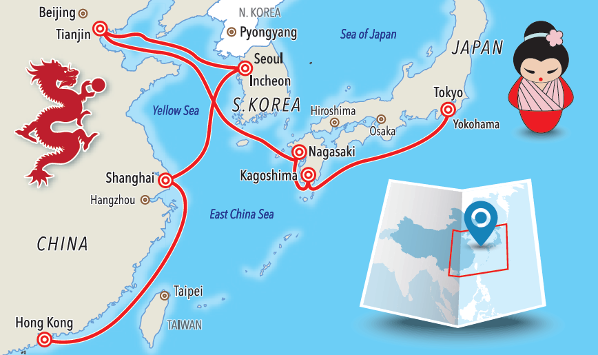 Itinerary - map - far east