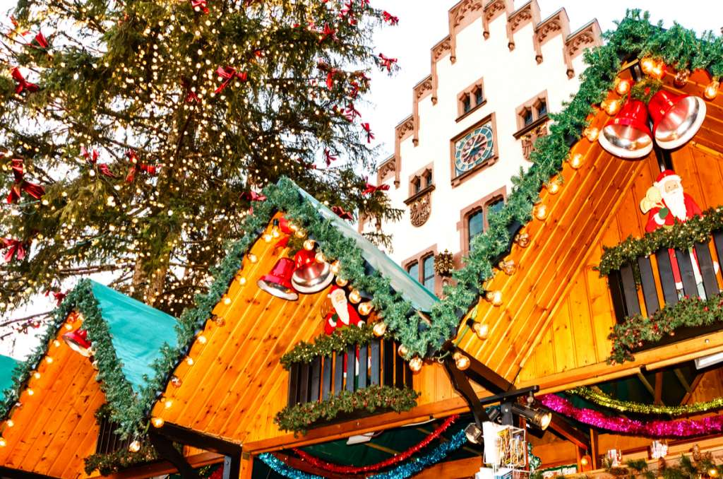 Christmas Market - Wooden stall - Frankfurt - Germany