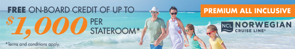 NCL $1000 on-board credit per statroom