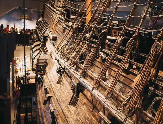 side of the Vasa Swedish warship, Vasa Museum Stockholm