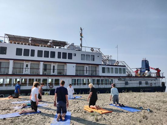 Morning yoga class off the ship