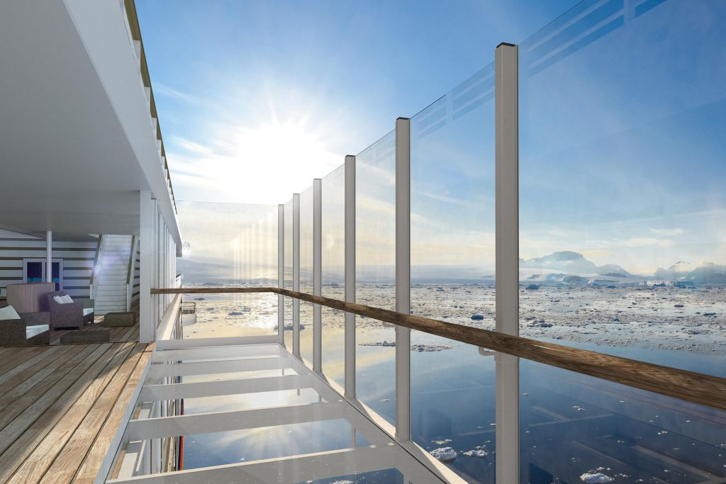 an outside perspective of a suite balcony on the Hanseatic Inspiration, Hapag-Lloyd