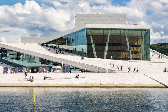 Outside the Oslo Opera House