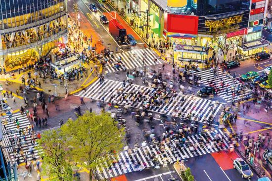 The famous Shibuya crossing, believed to be busiest intersection in the world