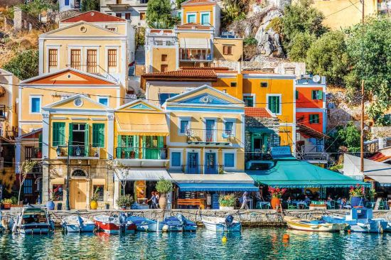 Symi in Greece's neoclassical facades add a touch of Italianate style