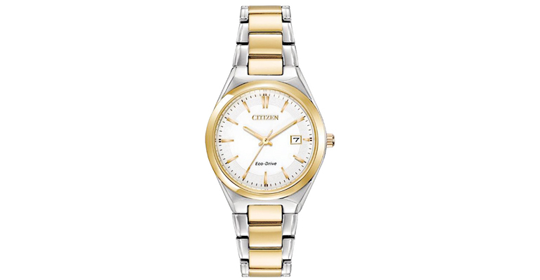 Citizen His and Hers yellow gold and silver metal watch