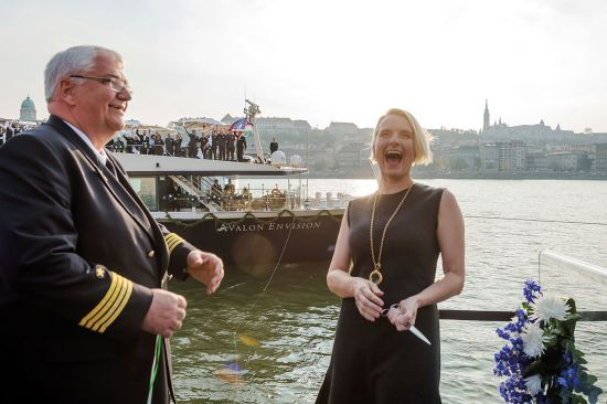 Elizabeth Gilbert christens the new ship Avalon Envision with the captain