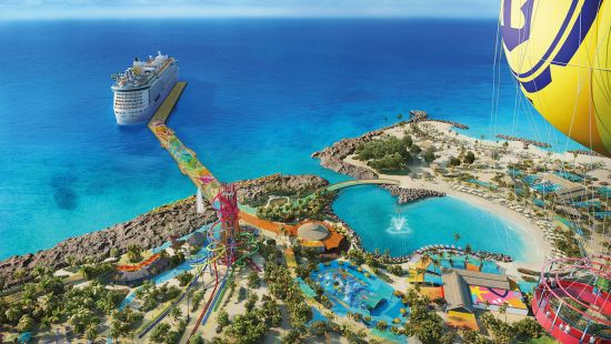 view of Royal Caribbean cruise ship by CocoCay island with a waterslide and Oasis lagoon