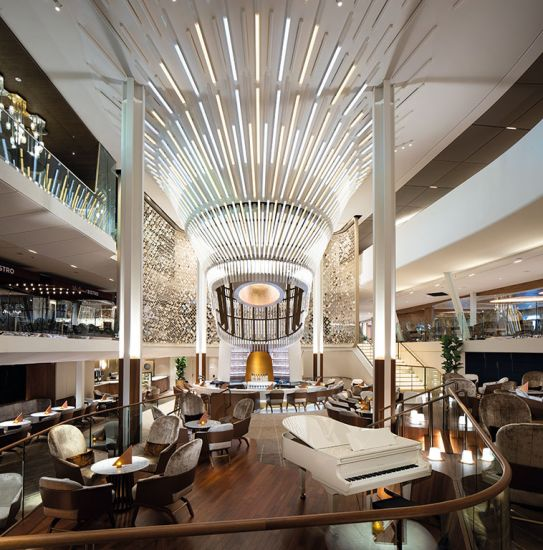 Celebrity Edge cruise ship's Grand Plaza designed by Kelly Hoppen