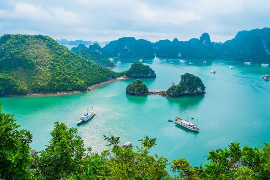 Cruise ships in Halong Bay, Vietnam, Southeast Asia