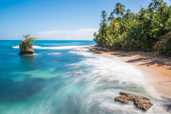 Wild Caribbean beach of Manzanillo at Puerto Viejo, Costa Rica