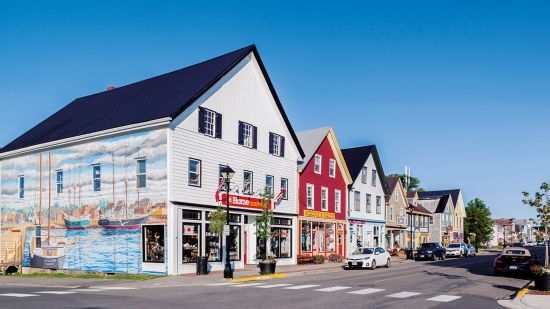 Street with stores in St Andrews, New Brunswick