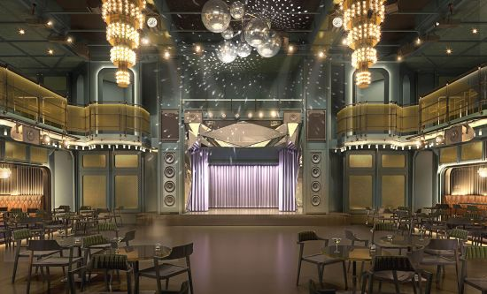 Virgin's Scarlet Lady's onboard exclusive nightclub featuring stage for music performings