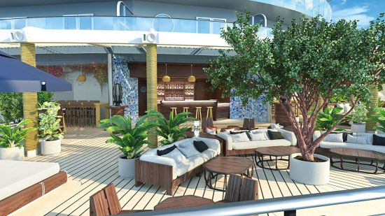 Virgin Voyage's Scarlet lady luxury outdoor area with sofas and greenery