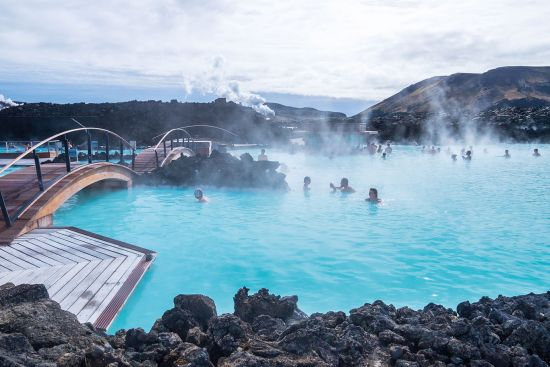 The famous Iceland blue lagoon is popular among visitors