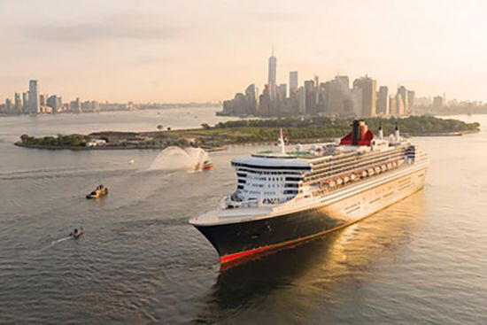 Cunard's ship sailing from New York on Transatlantic cruise