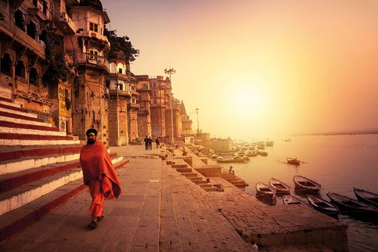 Holy city of Varanasi down the Ganges Asia river