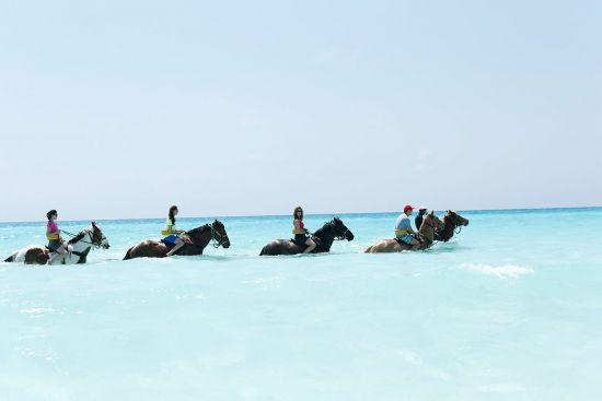 Horseback riding in the sea at Holland America Line's Half Moon Cay island