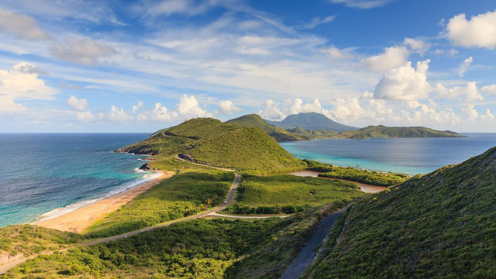 Panorama of St. Kitts island on a Caribbean cruise
