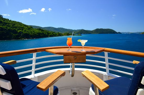 Cocktail's on SeaDream's yacht deck looking out onto the Caribbean