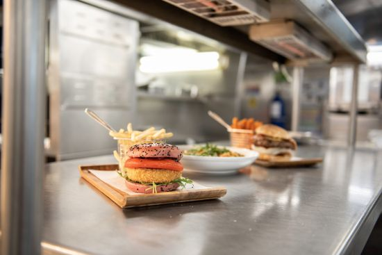 PO Ferries: Vegetarian halloumi burger
